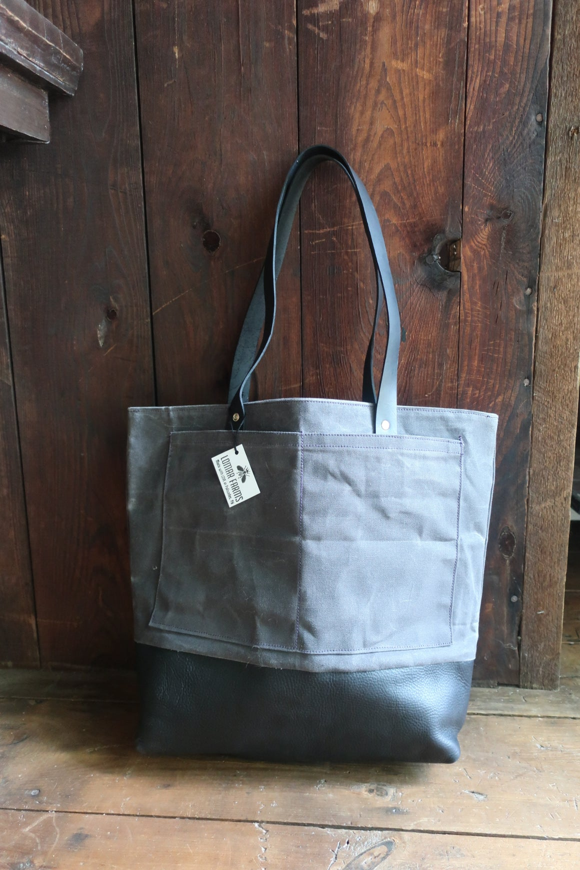 """Lenox "" Farm Bag Grey Beeswax Waxed Canvas with Black Leather Bottom and Straps"