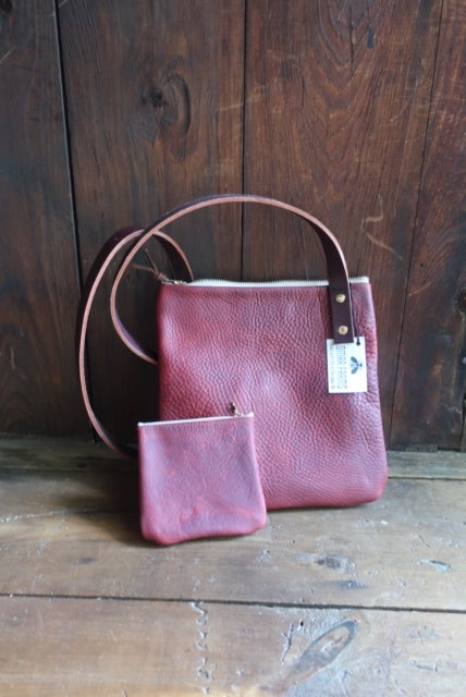 """Yvonna"" Burgunday Leather Across the Shoulder bag with change purse"