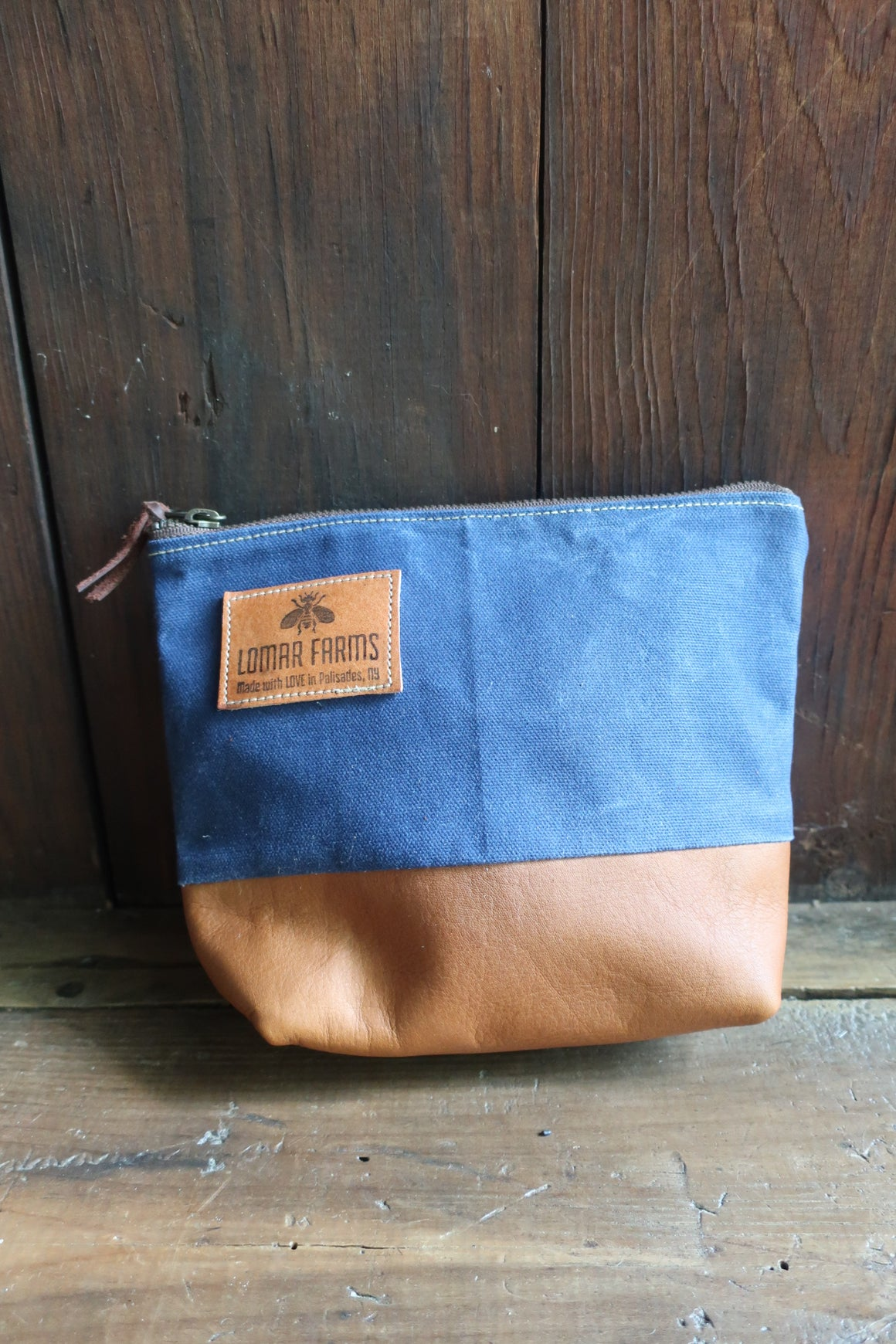 """ Madison"" Accessory Bag (blue Canvas & honey colored Leather)"