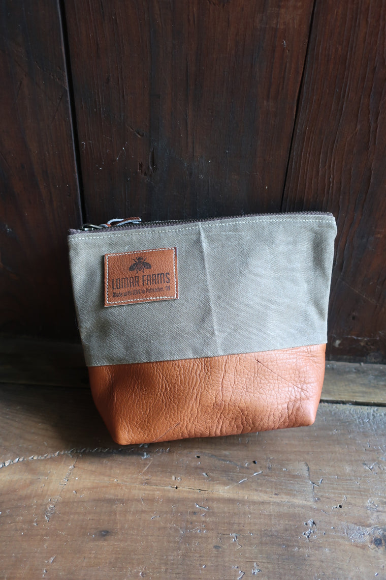 """ Blake"" Accessory Bag (Olive Canvas & honey colored Leather)"
