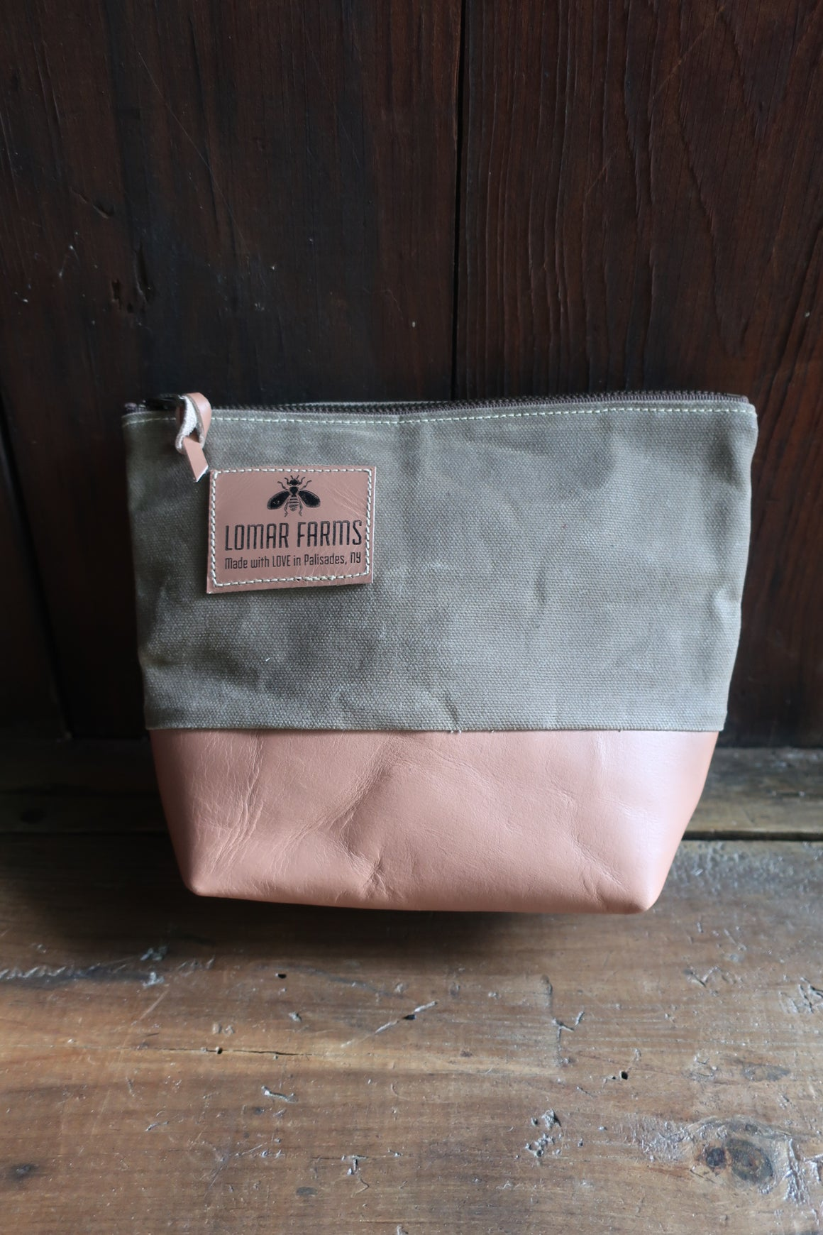 """ Marley"" Beeswax coated Accessory Bag (olive Canvas & tan Leather)"