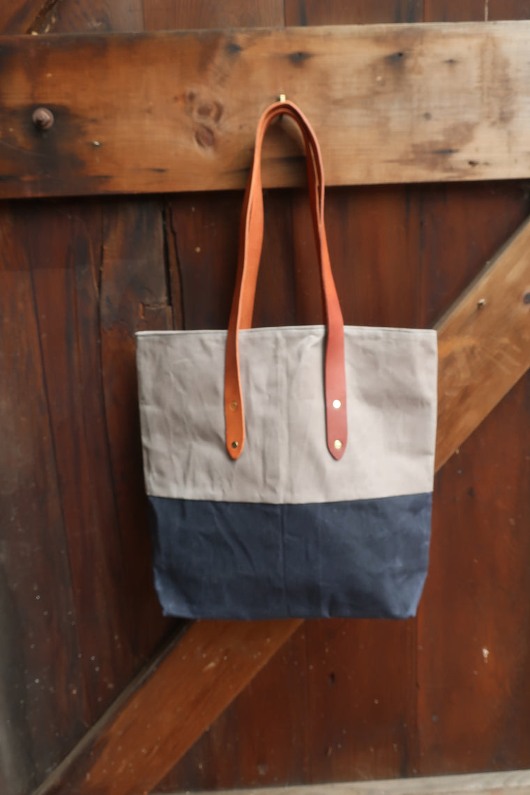 Leo Farm Bag (Navy and Grey Waxed Canvas With Tan Leather Straps
