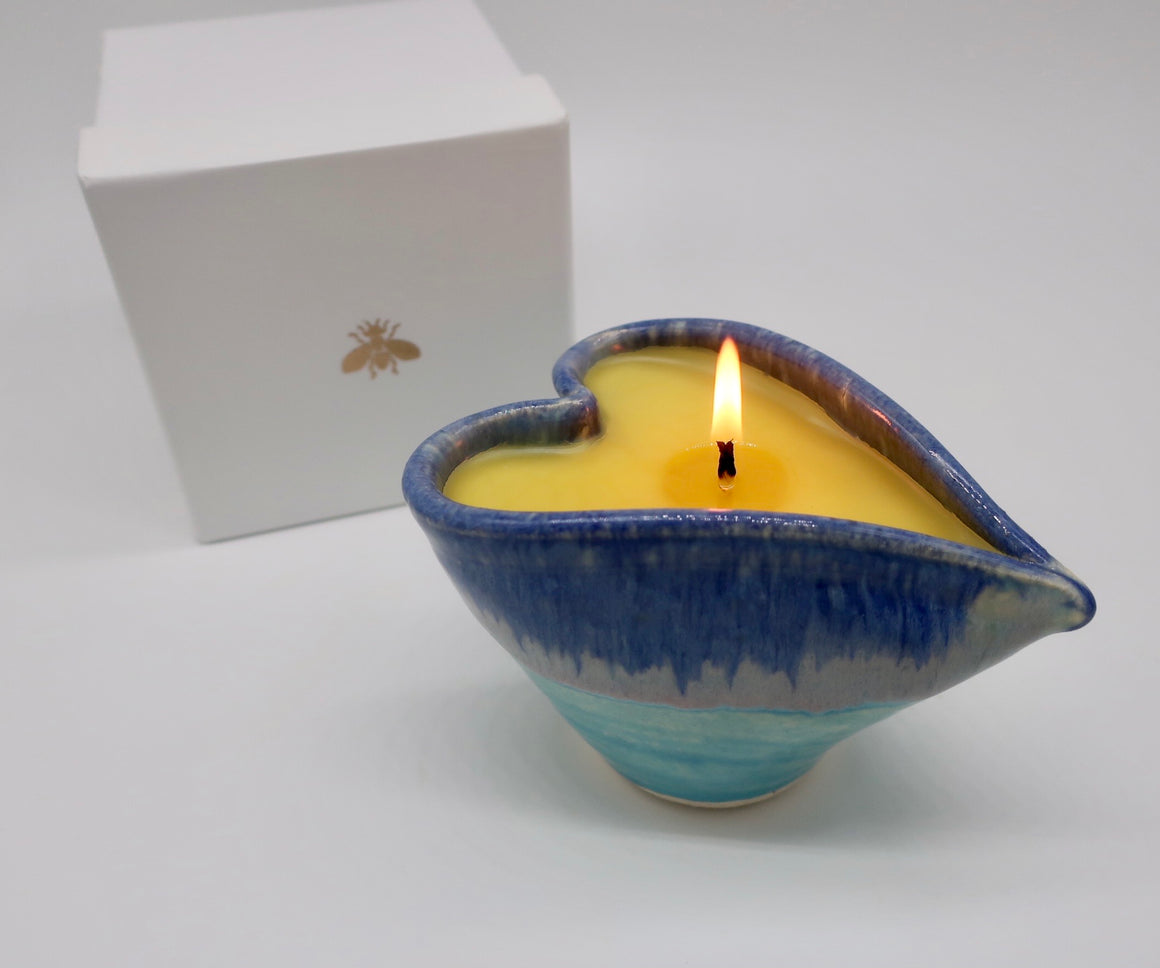 Good Night Lavender Massage Oil Candle in Ocean Blue Heart shaped Pottery