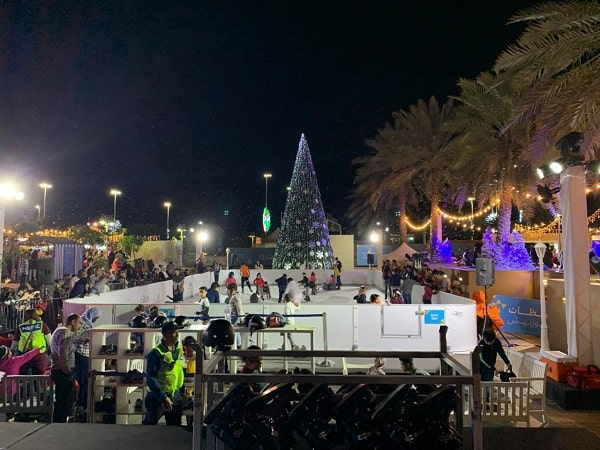 Ice Skating beneath Palm Trees – Synthetic Ice Christmas Rink in Abu Dhabi