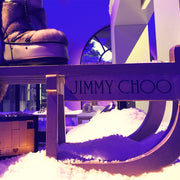 Snow decor using Display Snow for a Jimmy Choo winter window display