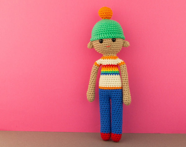 Doll with rainbow t-shirt