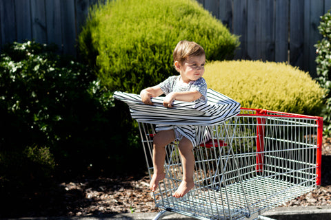 toddlers on shopping trolley using a 5in1 multi cover