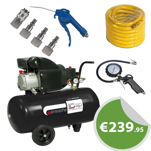 SIP 50Ltr RC2/50 2HP Air Compressor SET (Inc ALL Fittings)