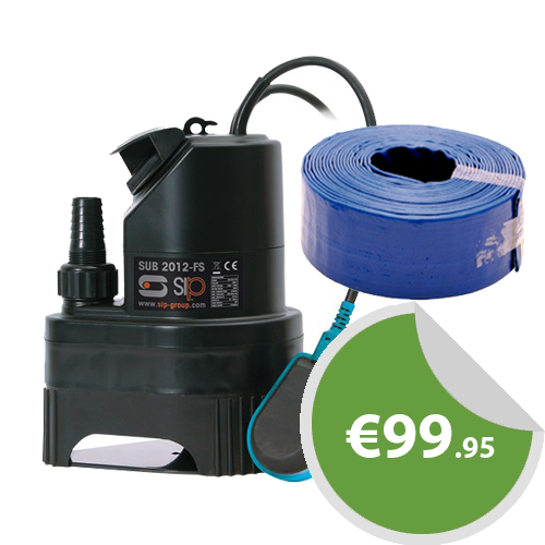 SIP 550w 2012FS Dirty Water Sub Pump & 10M Layflat Hose