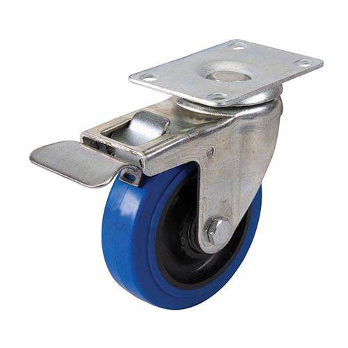 100mm Blue Elastic Rubber Swivel Castor c/w Brake (140kg)
