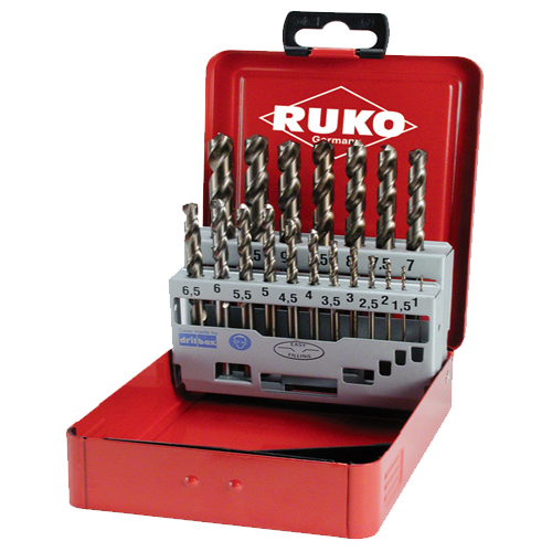 Ruko 19pc Professional HSS Ground Twist Drill Set (1-10mm)