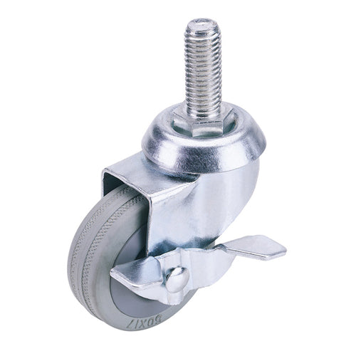 Draper 50mm Swivel Bolt Fixing Rubber Castor with Brake