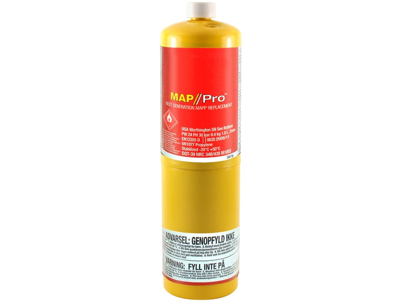 Faithfull 400g Yellow Map-Plus Gas Cylinder (CGA600 Fitting)