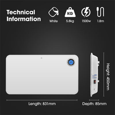 Futura 2000w Slim 24/7 Digital Timer Bathroom Panel Heater