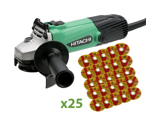 Hitachi 4 1/2'' 600w Angle Grinder & 25 Vires 4 1/2' Discs