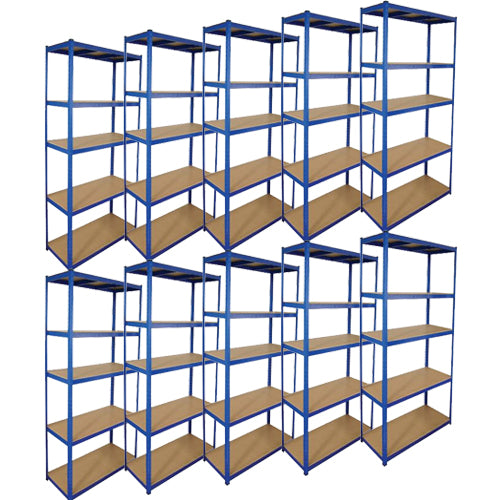 2.2M Heavy Duty Boltless 5 Tier Shelving Unit (10 Bays)