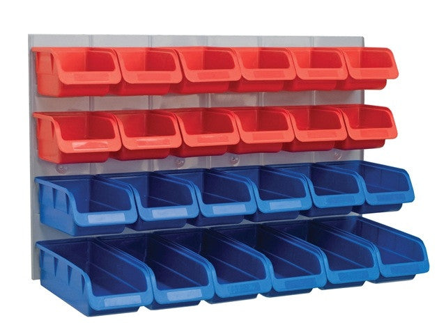 24pc Plastic Storage Bins (Metal Wall Panel)