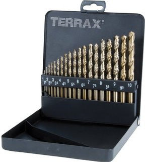 Terrax 19pc HSS Ground Drill Bit Set (1 - 10mm)
