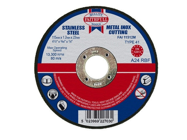 Faithfull 115mm Stainless Steel Cutting Disc (4 1/2'')