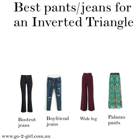 best pants jean style for inverted triangle body shape