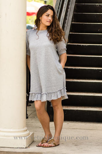 Loop terry dress with pleated sleeves and ruffle hem-Vêtue Boutique Lithia FL USA.  Women's boutique for great quality fun, laid back chic and stylish clothing and accessories. Let us dress you!