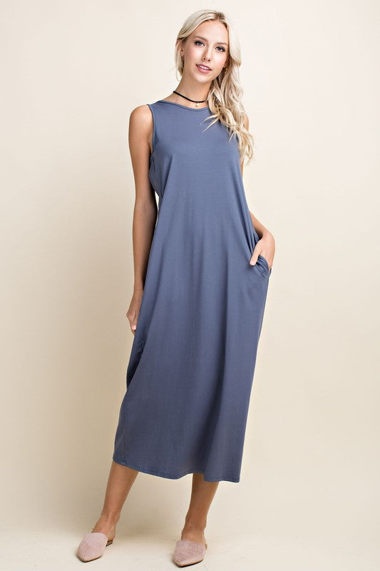 LOTTIE sleeveless midi dress with gathered scoop back detail and pockets