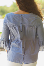 gingham blouse with back buttons lithia fl- Vêtue Boutique Lithia FL USA. Women's boutique for great quality unique, fun, trendy and stylish clothing and accessories at amazing prices.  Let us dress you!