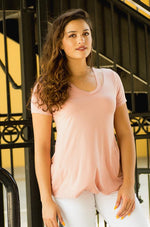 coral comfy fitted tee with cutout neckline tampa fl - Vêtue Boutique Lithia FL USA. Women's boutique for great quality unique, fun, trendy and stylish clothing and accessories at amazing prices-Let us dress you