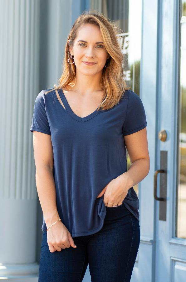 dark navy comfy fitted tee with cutout neckline tampa fl - Vêtue Boutique Lithia FL USA-Women's boutique for great quality unique, fun, trendy and stylish clothing and accessories at amazing prices-tampa fl boutique-valrico fl boutique-brandon fl boutique-riverview fl boutique