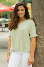 PEYSON sage comfy hi-lo V-neck Tee with cuffed sleeves