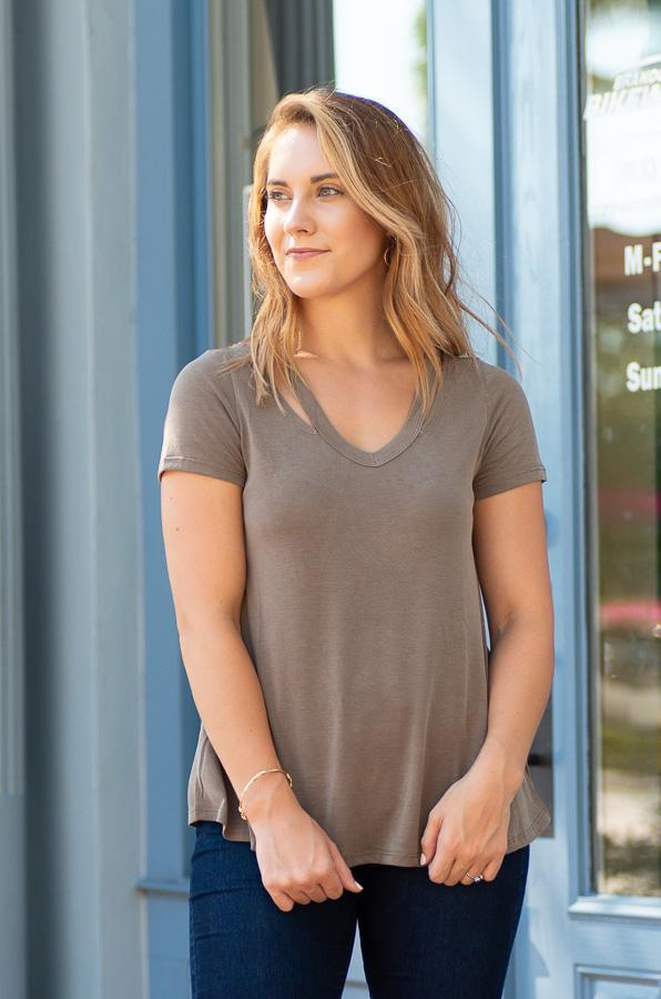 HINKLEY walnut comfy fitted tee with cut out neckline