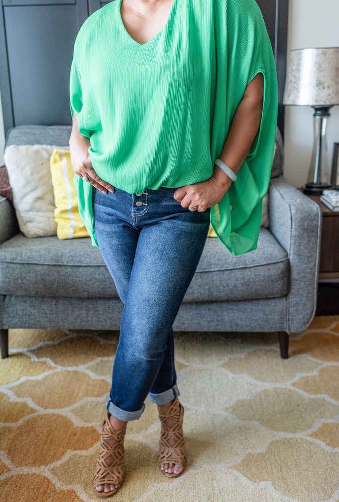 sleeve detail emerald britton drape v-neck blouse available online at vetue boutique