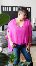 fuchsia drape v-neck blouse available online at vetue boutique
