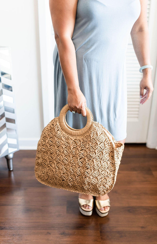 tan woven tote bag available online at vetue boutique