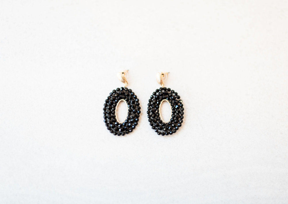 black glass beads drop earrings available online at vetue boutique