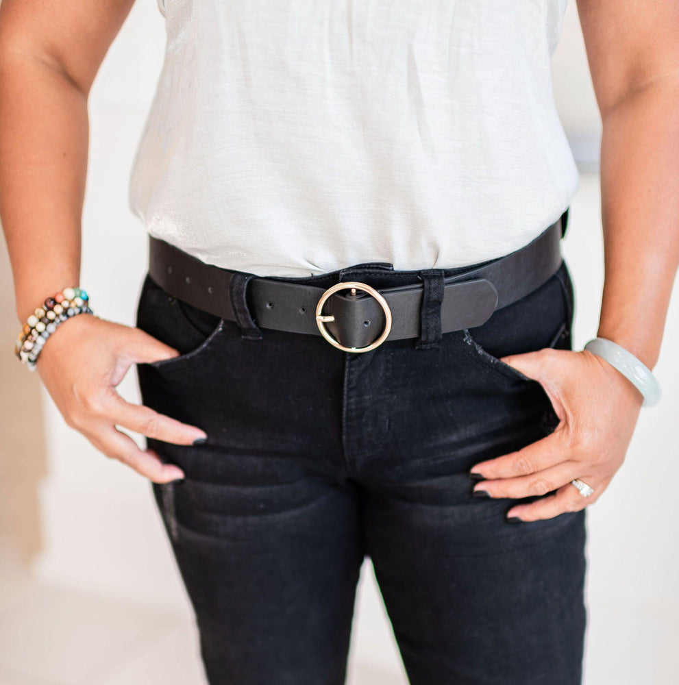 black belt with gold round buckle vetue Boutique tampa saint Petersburg florida online clothing accessories casual stylish contemporary fashion store