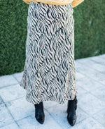 safari stripes maxi flare skirt with size zip and elastic waist available online at vetue boutique