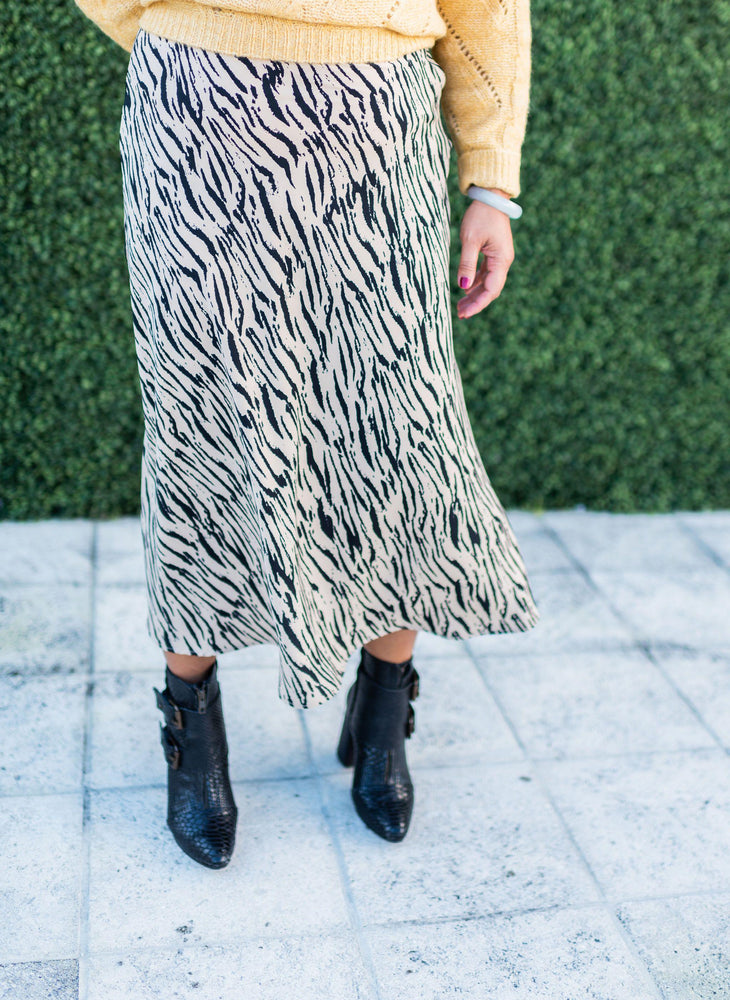 FARROW safari stripes long flare skirt with size zip and elastic waist