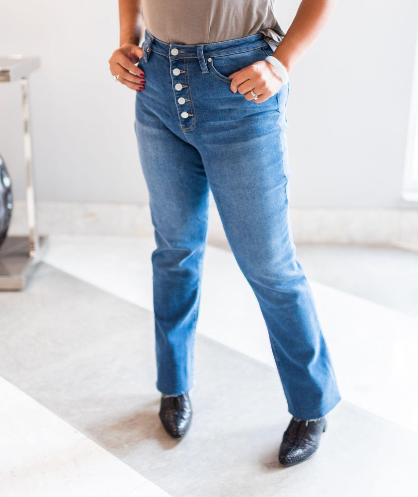 Sawyer Button Front Flare Jeans