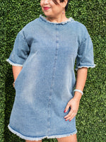 COLBY boxy self washed short sleeve denim dress with pockets