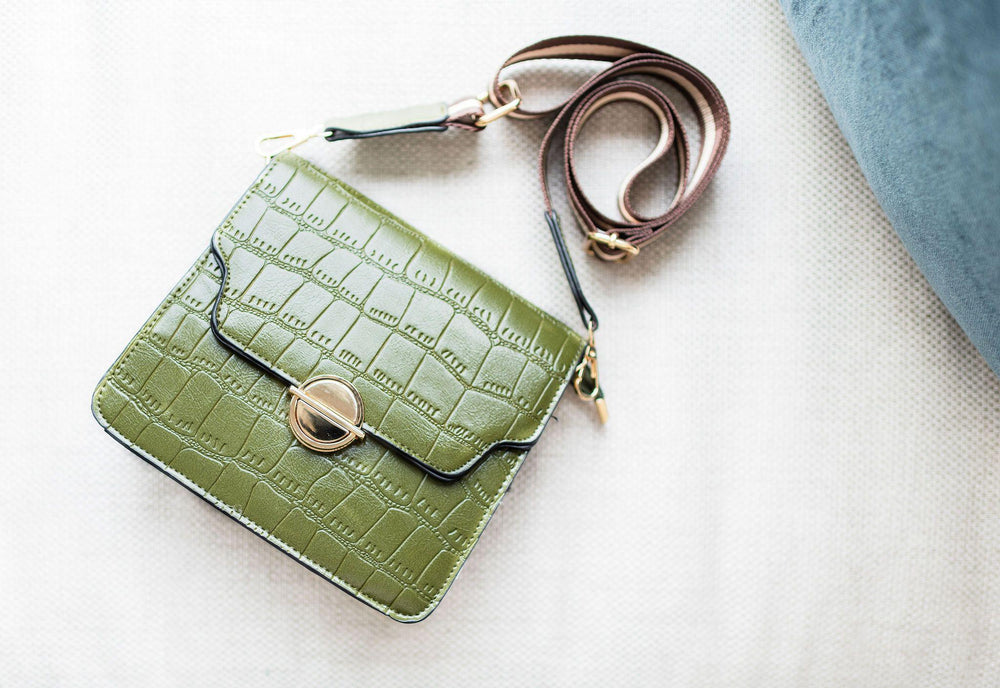 olive faux alligator skin square bag with straps available online at vetue boutique