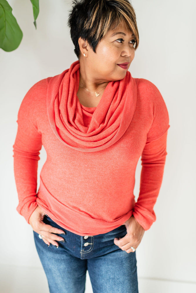bright coral cowl neck sweater available online at vetue boutique