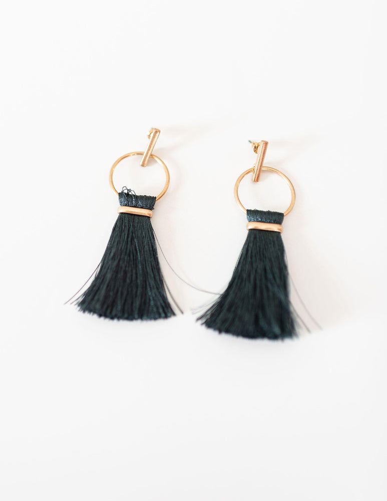 teal tassel earrings available online at vetue boutique