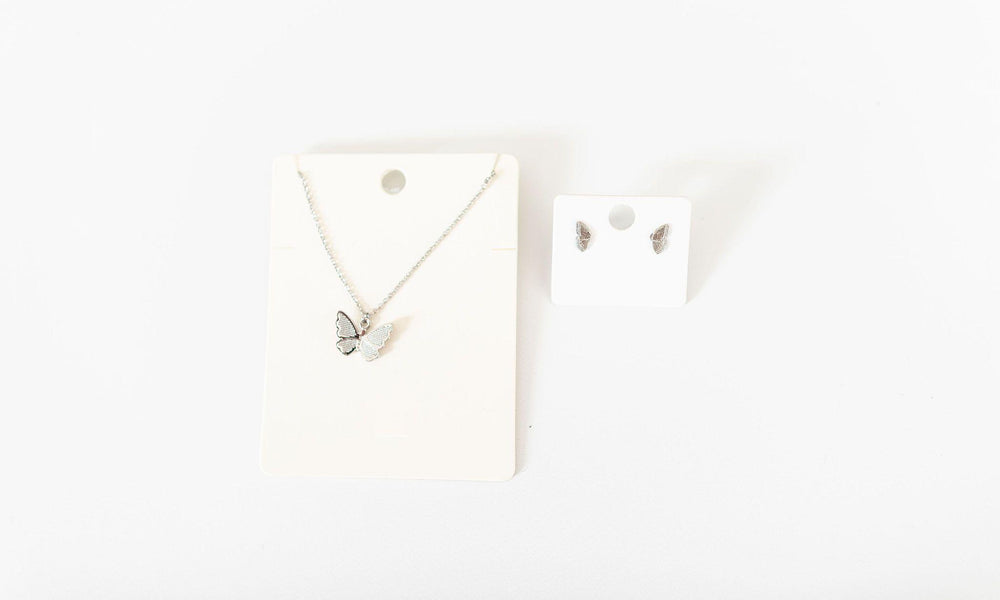 dainty butterfly pendant necklace and butterfly wings earrings set