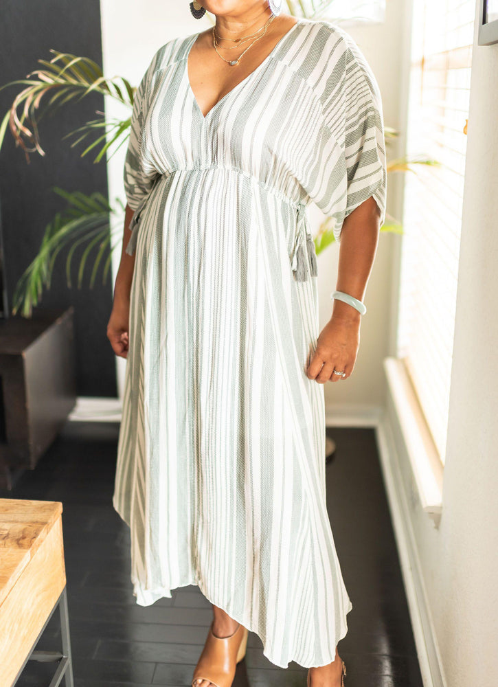 Vêtue Boutique women's fashion clothing  and accessories - stripe kaftan midi dress