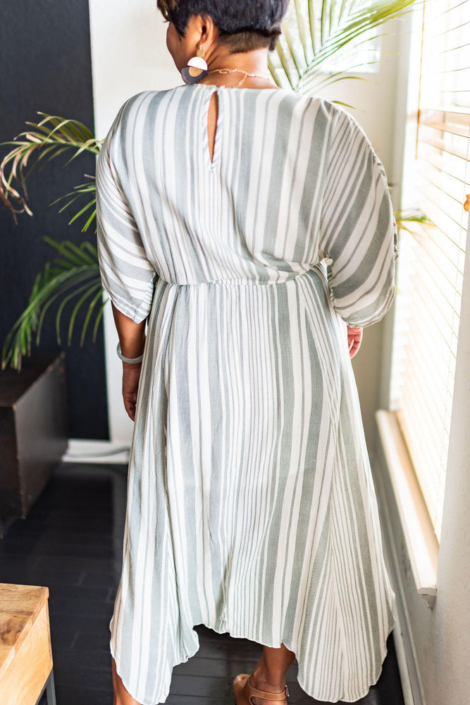 stripe kaftan midi dress vetue boutique casual and contemporary women's clothing and accessories