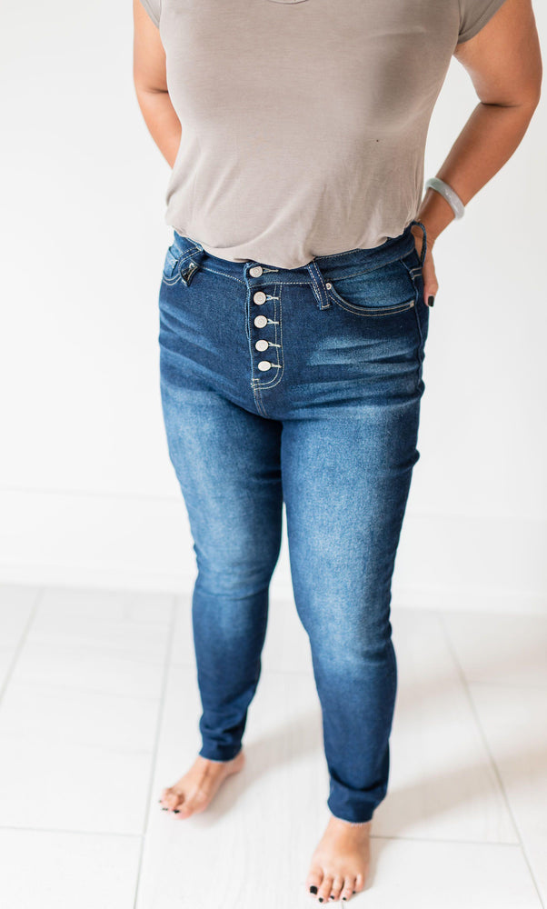 KEEGAN button fly high rise ankle jeans with unfinished hem
