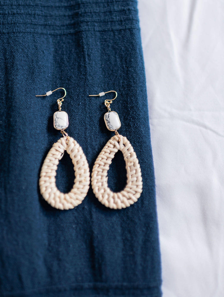 NEW!!! white wicker tear drop shape dangling earrings