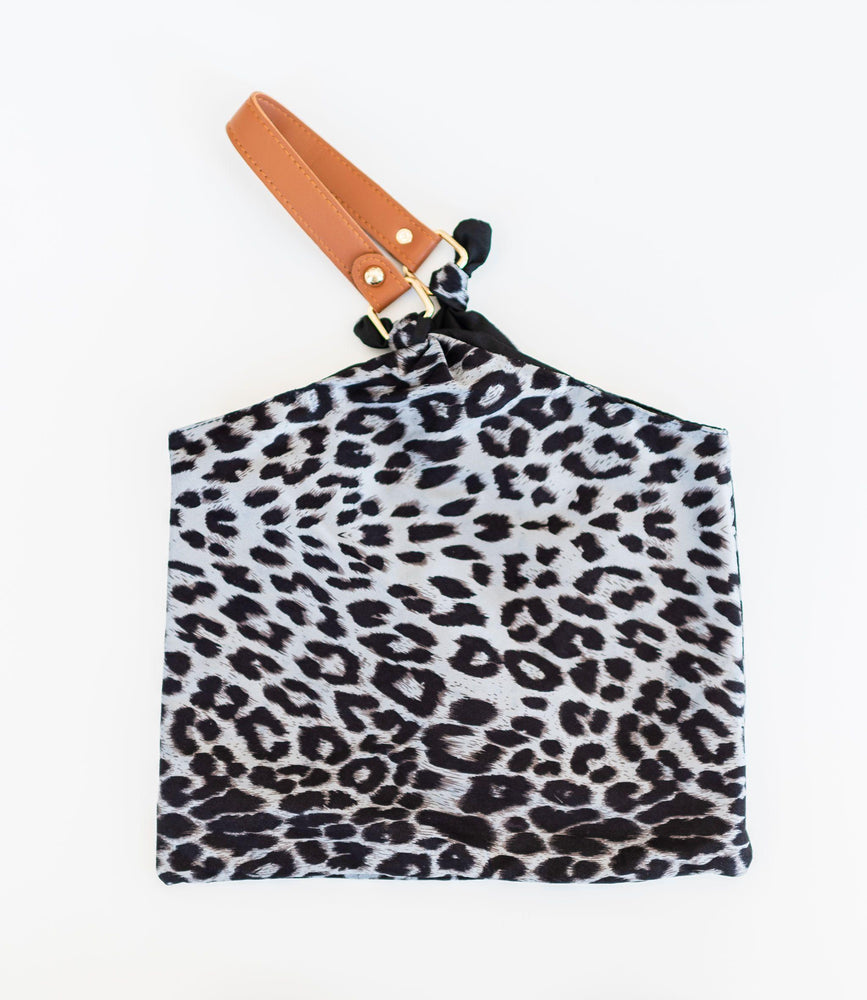grey lightweight leopard print handkerchief bag snap closure faux tan leather hand vetue Boutique tampa saint Petersburg florida online clothing accessories casual stylish contemporary fashion store