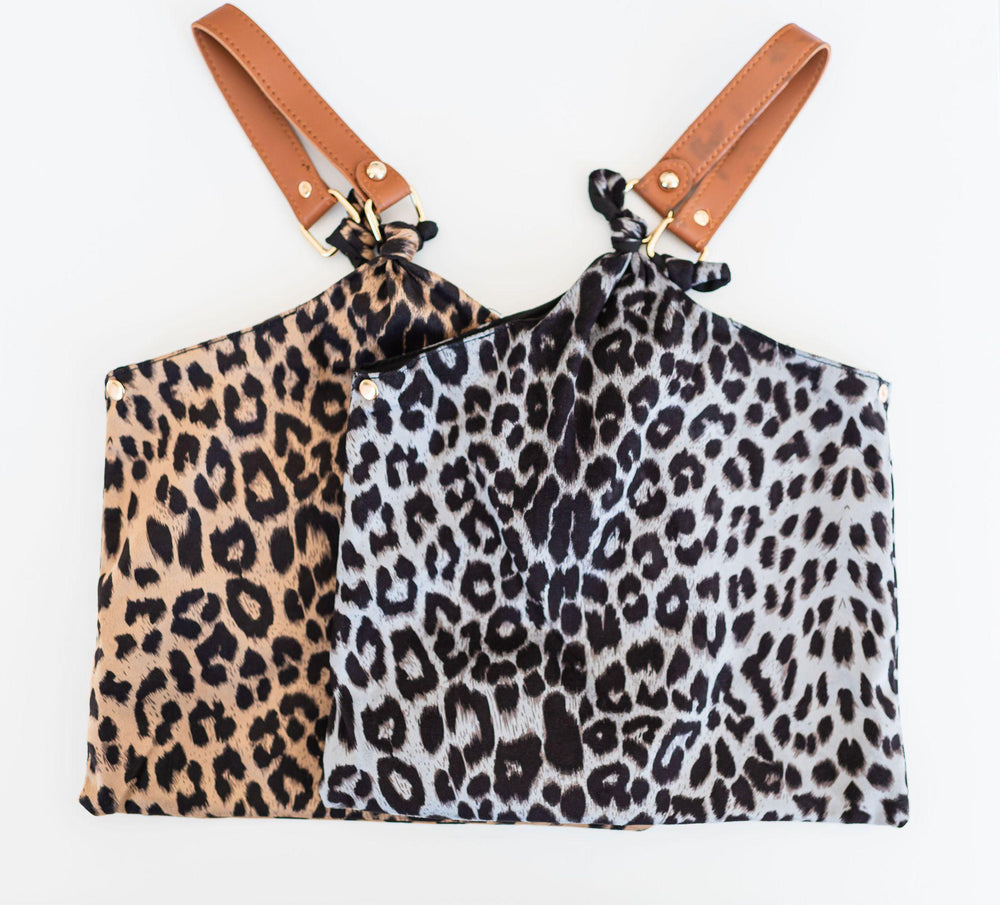 lightweight leopard print handkerchief bag snap closure faux tan leather hand vetue Boutique tampa saint Petersburg florida online clothing accessories casual stylish contemporary fashion store